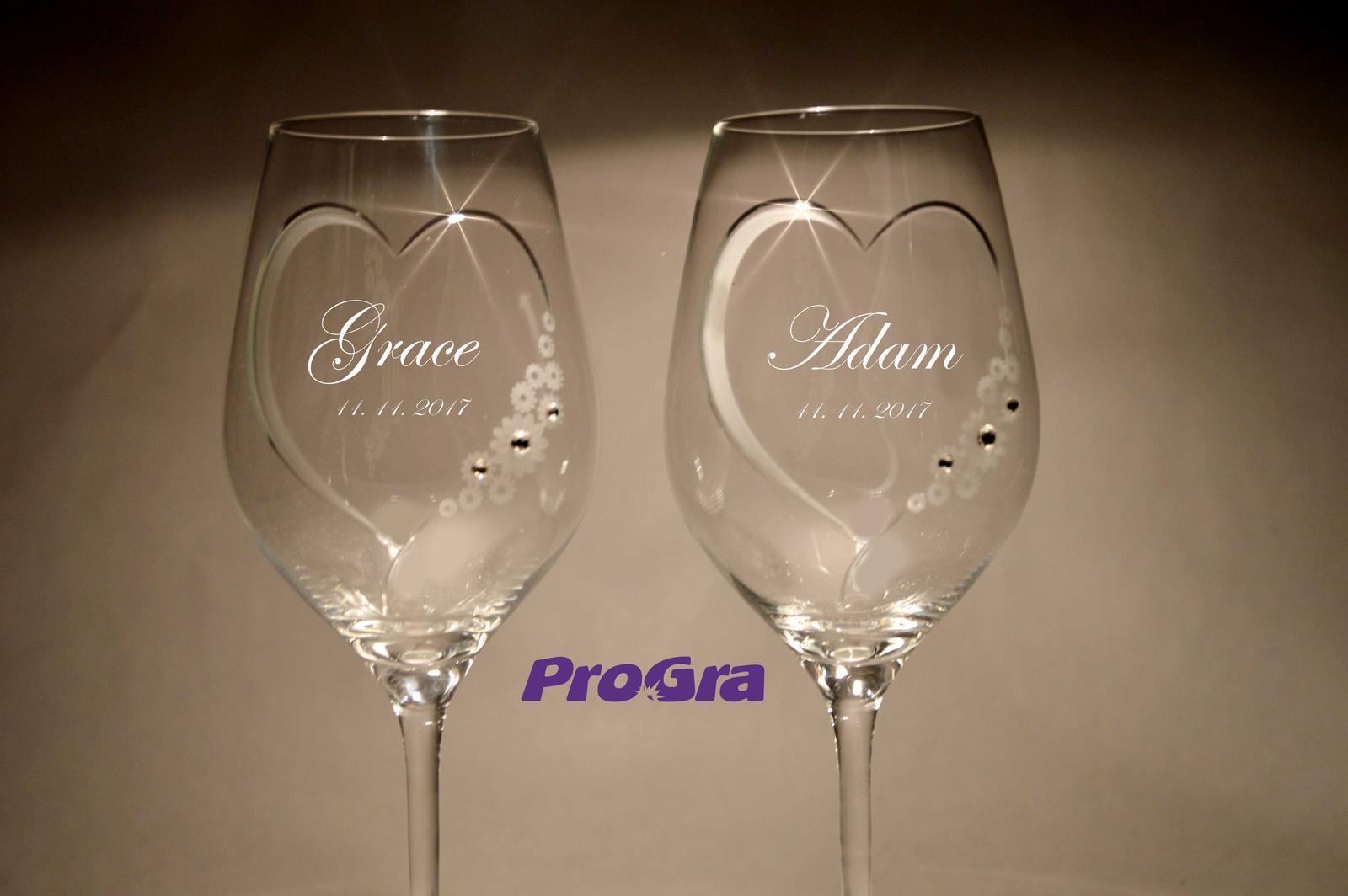 Grace -svatební sklenice - 2ks - Obrázek č. 1