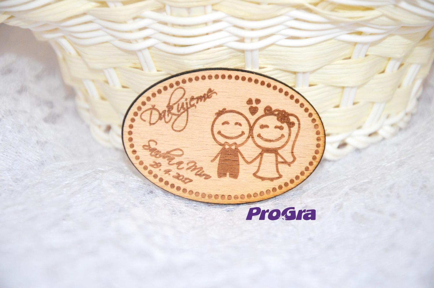 Svatební magnet - oválný - Obrázek č. 2