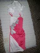 Smotanovo lososové šaty + smotanové bojlerko, S