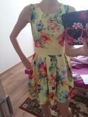 Žlté kvietkované šaty, S