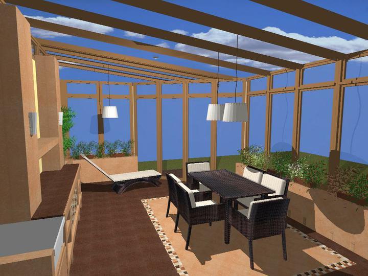 O verande (a spol) - ...a tuto zimnu zahradu som teda nakreslila ... dom už je oranzovo- žltý aj kostra je už postavená...