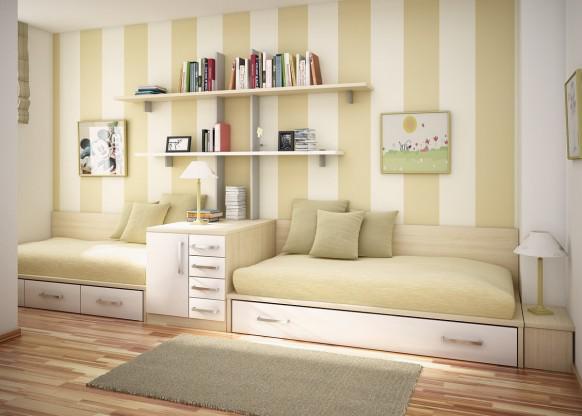 Detská izba pre dvoch - Postele pozdlžne za sebou niečím rozdelené