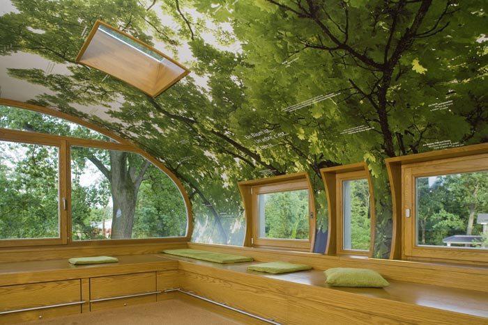 Stromové domčeky - Strop pokryli fototapetou, aby človek ani náhodou nezabudol, že je v lese... ktovie ale, ako to posobí v zime :-D