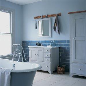 Vidiecke kúpeľne - Subway style- modrá