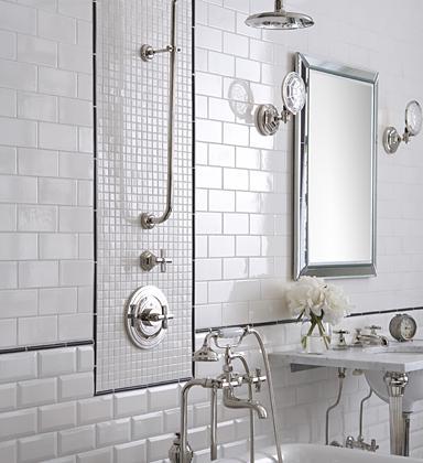 Vidiecke kúpeľne - subway style- biela