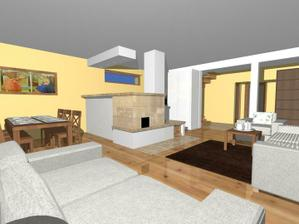 A tu je návrh obyvačko- kuchyne... zo strany obyvačky pec, zo strany kuchyne sporáčik na drevo...