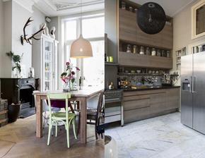 Šarmantný bytík v Paríži- ta vysoka kuchyna vyzerá úžasne, ktovie ako otvaraju horne skrinky, možno stoja na linke...