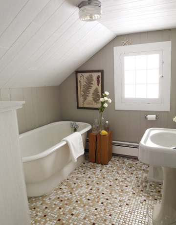 Vidiecke kúpeľne - Farebná podlaha