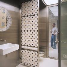 zaujímavá textúra ... a ušetríte na vzorovaných kachličkách ... na verejné wc však absloutne nevhodné