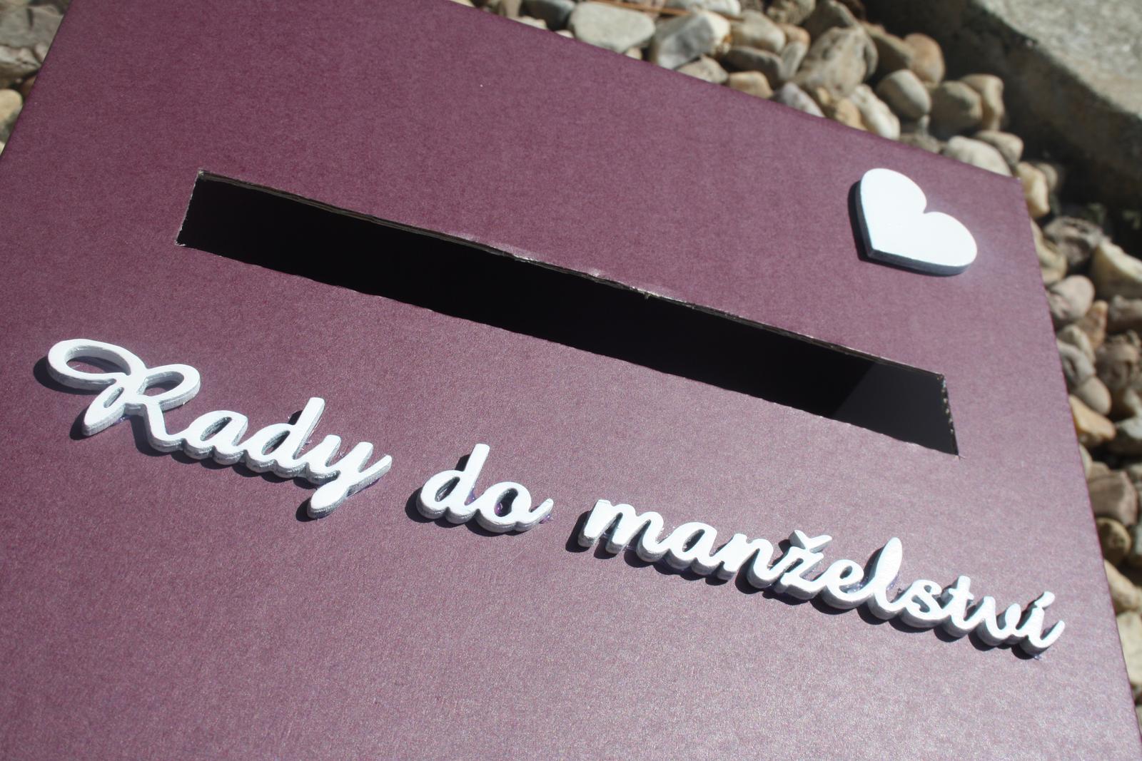 Truhla na svatební přání - fialová - Obrázek č. 2