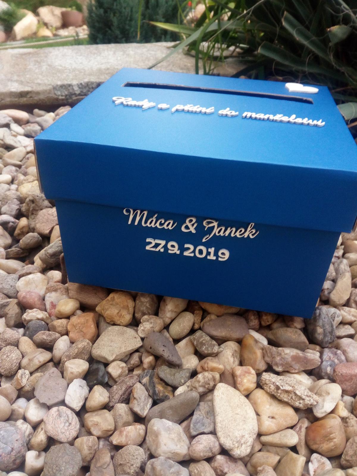 Krabička na svatební blahopřání - modrá - Obrázek č. 1