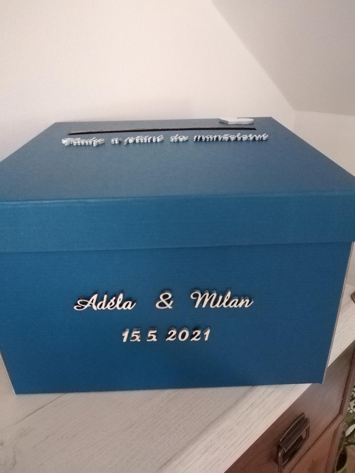 Krabička na svatební blahopřání - modrá - Obrázek č. 2