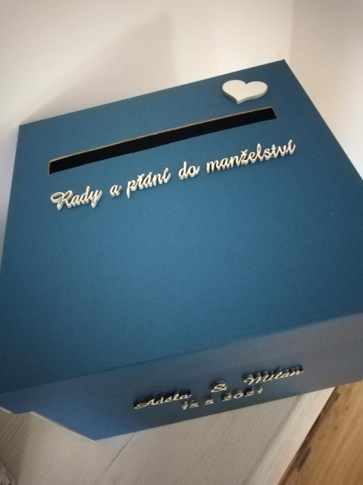 Krabička na svatební blahopřání - modrá - Obrázek č. 3