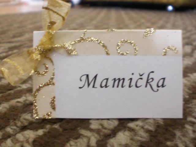 Evka a Maťko 18.7.2009 - menovky na stôl, moja výroba...