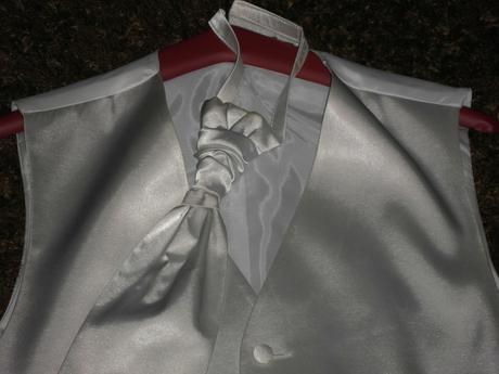 Biela leskla vesta s kravatou - Obrázok č. 1