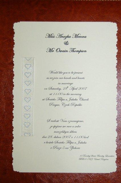 Anezka & Owain 28/04/2007 - Nase svatebni oznameni - vyrabeli jsme si je sami :-) Libi se vam?