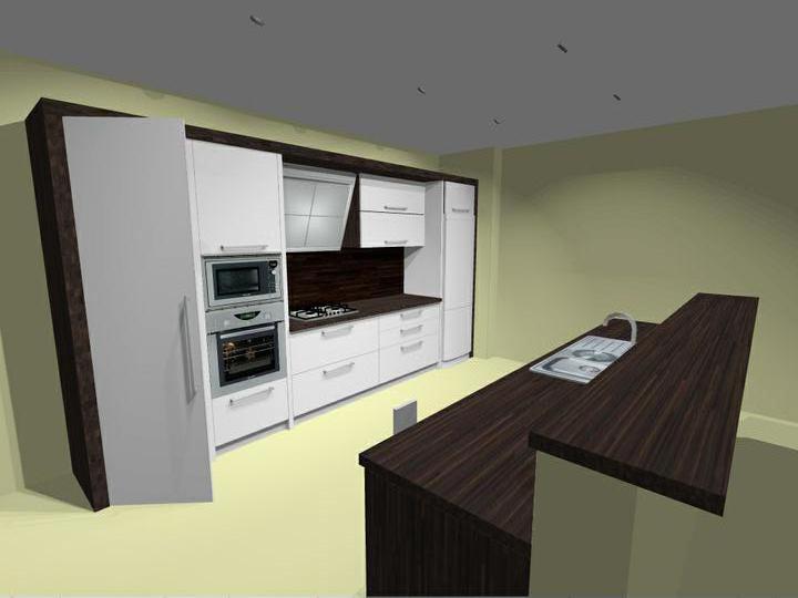 Náš domec - vizualizácia kuchyne, dohodli sme sa na tejto verzii.