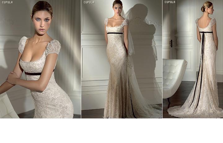Inspiracie - svadobne saty - Pronovias 2008 - Cupula - stale aristokraticky styl, ale viac sexy. chce to dobru postavu a pradlo co sa nebude zarezavat :D vyraznejsiu ozdobu do vlasov - napr. kobinaciu peria a sperku a velke strasove nausnice