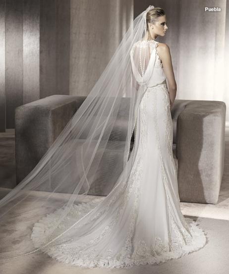 Inspiracie - svadobne saty - Manuel Mota for Pronovias 2012 - Puebla B - krasny zadny diel, zavoj by som dala prec aby viac vynikol