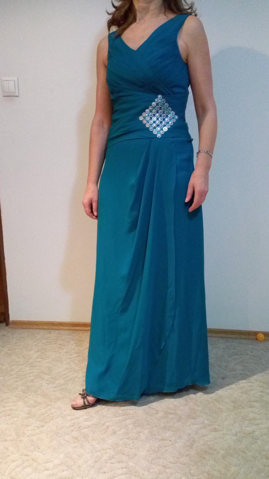 petrolejové šaty M - Obrázok č. 1