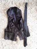 Luxusna trblietava vesta plus slim kravata zdarma, 38