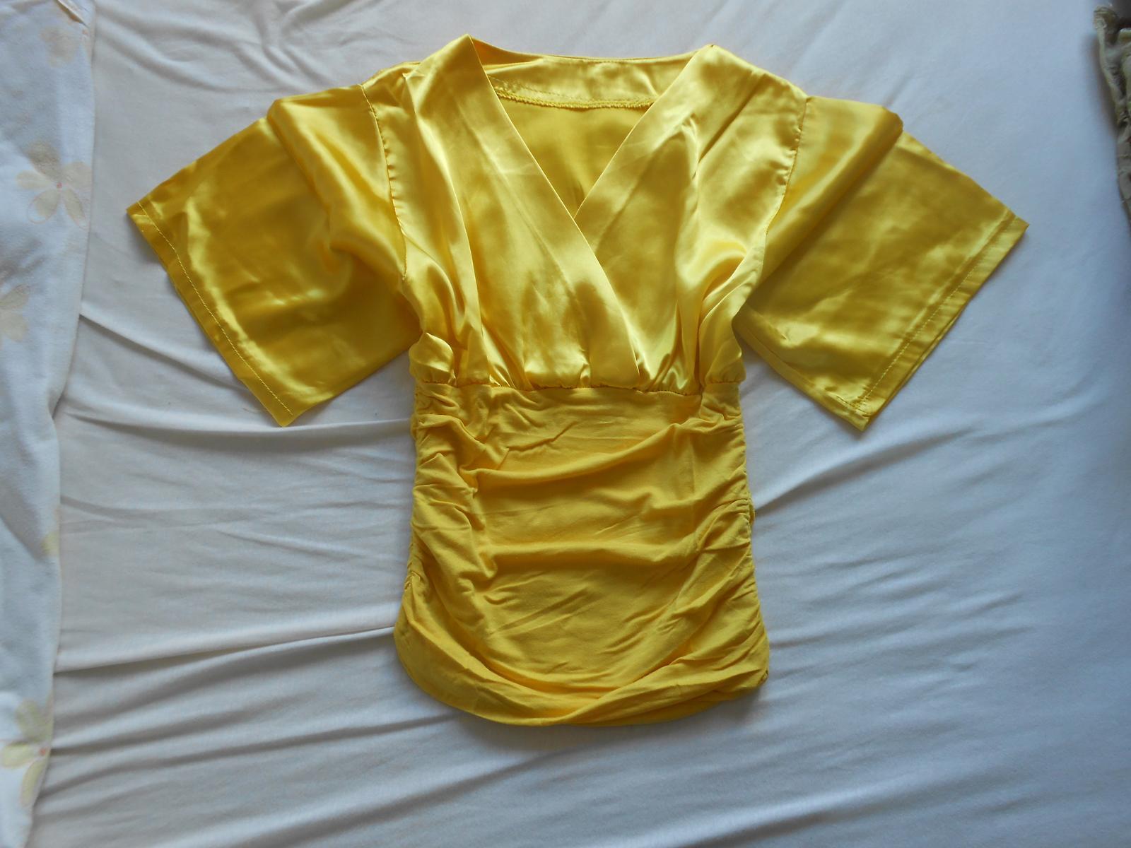 Zlatá/žltá saténová blúzka/top - Obrázok č. 2