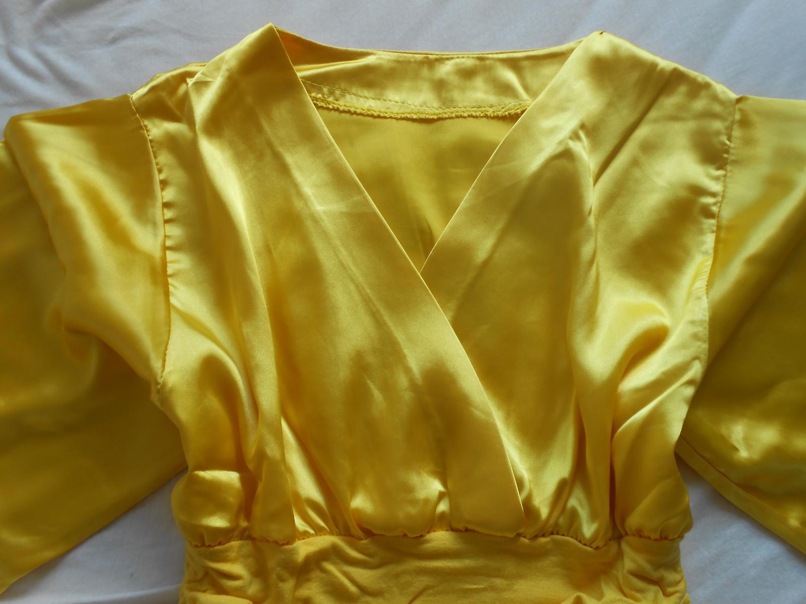 Zlatá/žltá saténová blúzka/top - Obrázok č. 3
