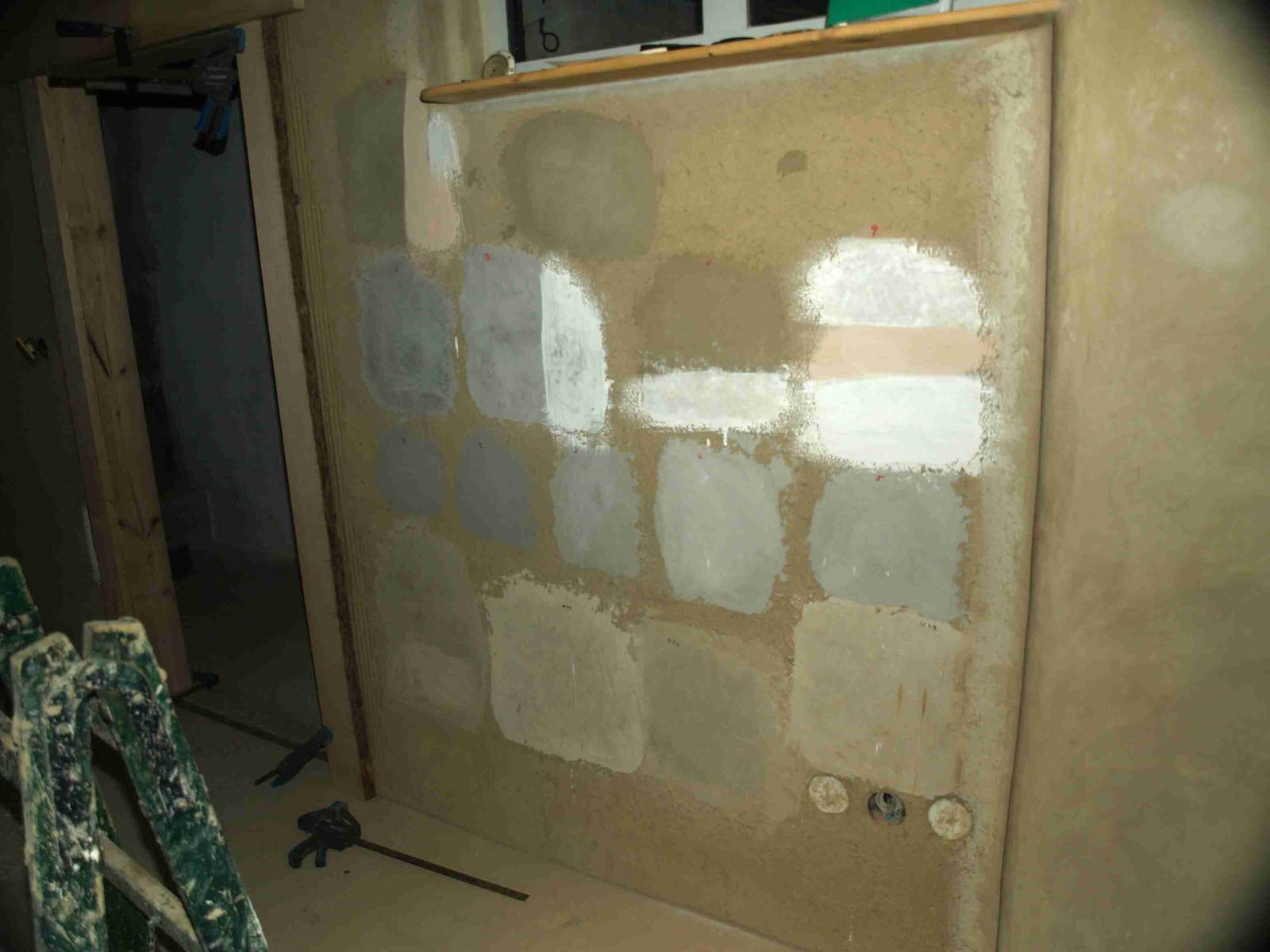 Hlinené omietky a podlahy svojpomocne. - Tu sme testovali zloženie a prirodné farbenie jemných omietok.