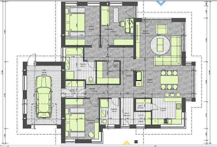 Bungalov s pultovymi strechami - uzitkova plocha 165 m2, zastavane plocha s terasou 222 m2