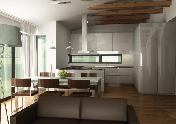 Bungalov s pultovymi strechami - takto by sme si predstavovali kuchynu