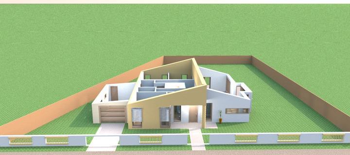 Bungalov s pultovymi strechami - Umiestnenie domu na pozemok - vizualizacia v sweethome