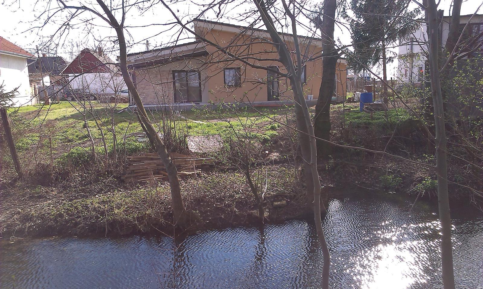 Bungalov s pultovymi strechami - Pohlad z lesika za domom. V potoku plavaju ryby ale aj ondatry pižmove ( nieco ako bobry). V lesiku vidno vevericky, zajace, srnky, ďatle....