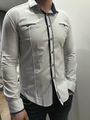 Pánska slim košeľa Elegantná bielomodra, L