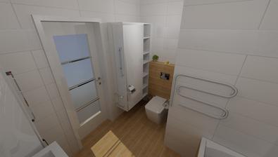 Druhá možnost Wood- wood je jen ke gaberitu a je přidaný jeden řádek obkladu s kytičkama a udělaná lepší skříňkavedle záchodu