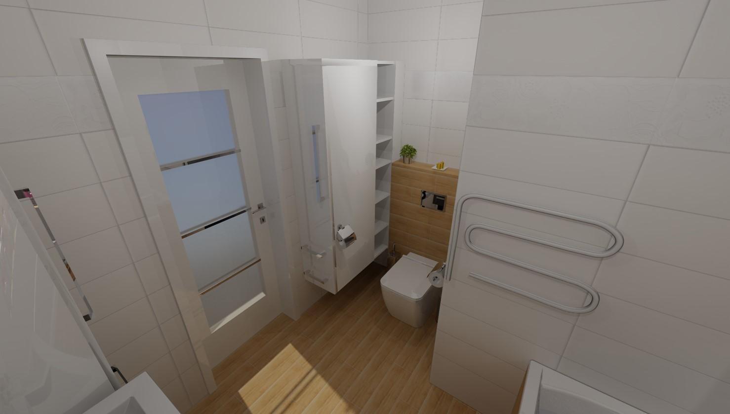 Koupelna varianty - Druhá možnost Wood- wood je jen ke gaberitu a je přidaný jeden řádek obkladu s kytičkama a udělaná lepší skříňkavedle záchodu