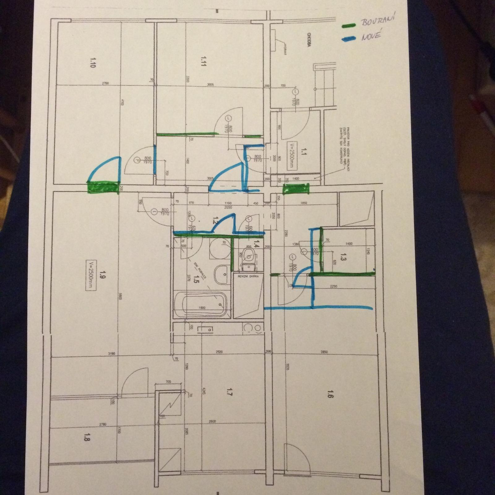Naše 4+1 v paneláku - Znázornění stavebních úprav