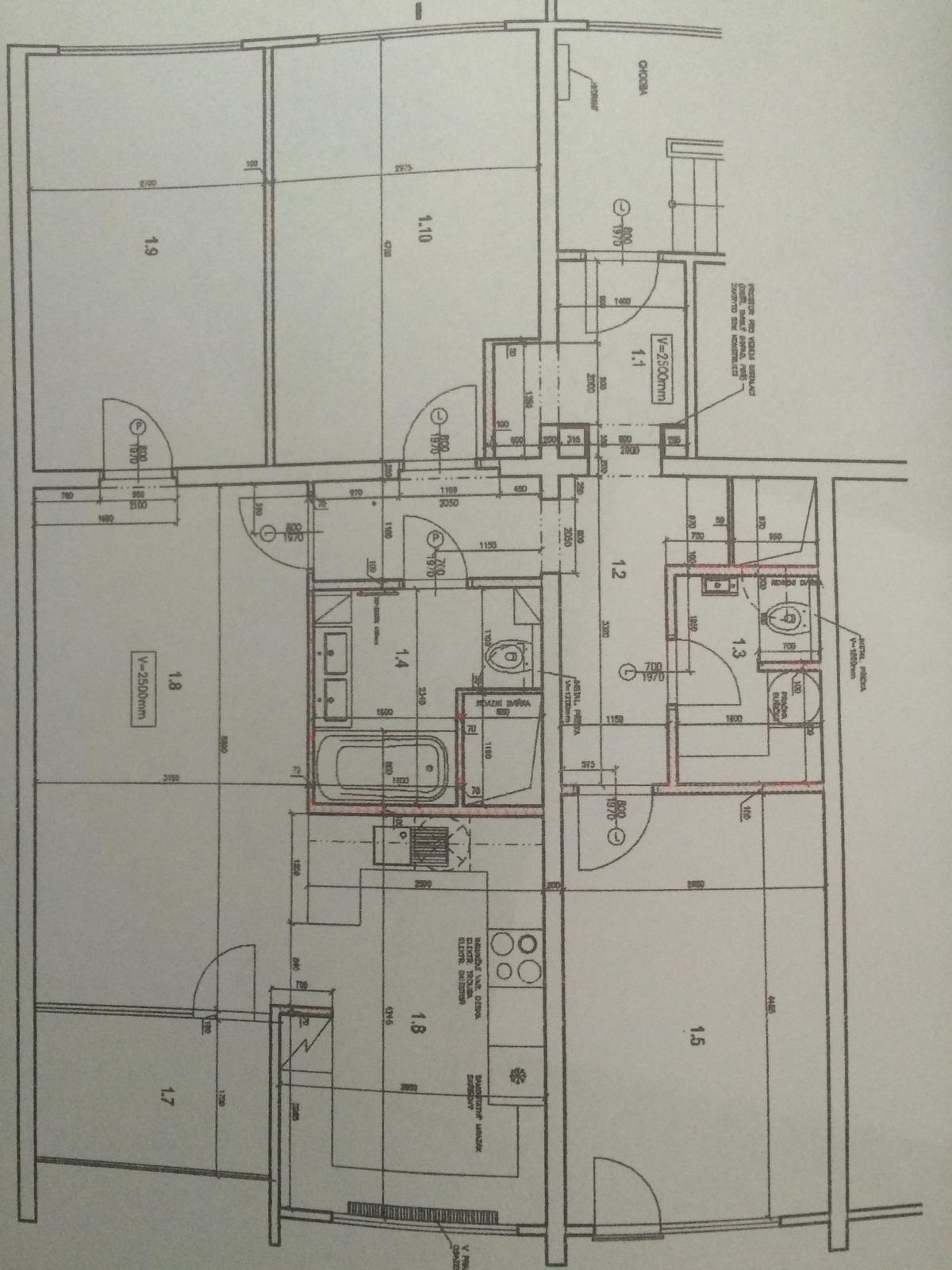 Naše 4+1 v paneláku - Finální půdorys, jen kuchyň bude jinak