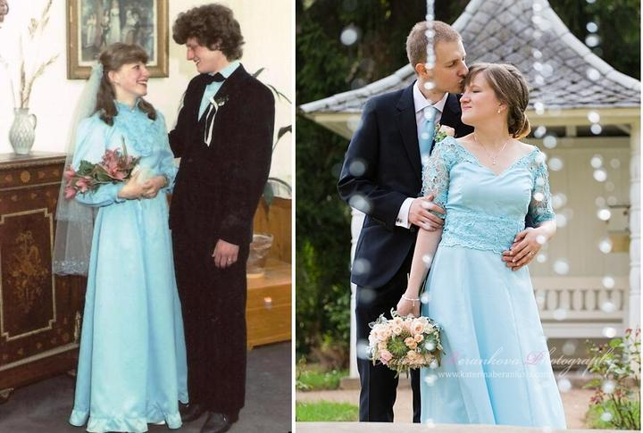 Mamčiny/moje svatební šaty při jejich přemiéře v roce 1985 a při pokračování v roce 2016. Ještě by bylo předčasné říct, že je to jejich derniéra :-).