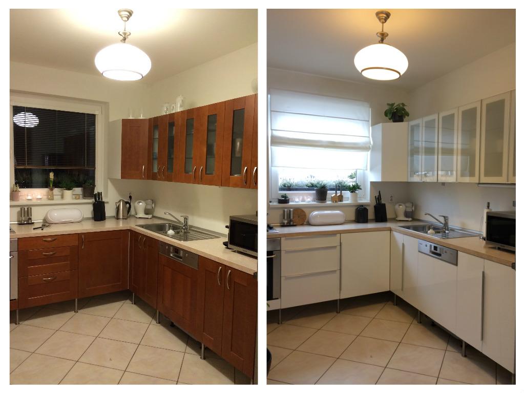 Proměny naší kuchyně - PŘED a PO. Celkové náklady na proměnu: cca 6.500 Kč (dvířka, roletka, barva na dveře) + cca 4 hod. práce.