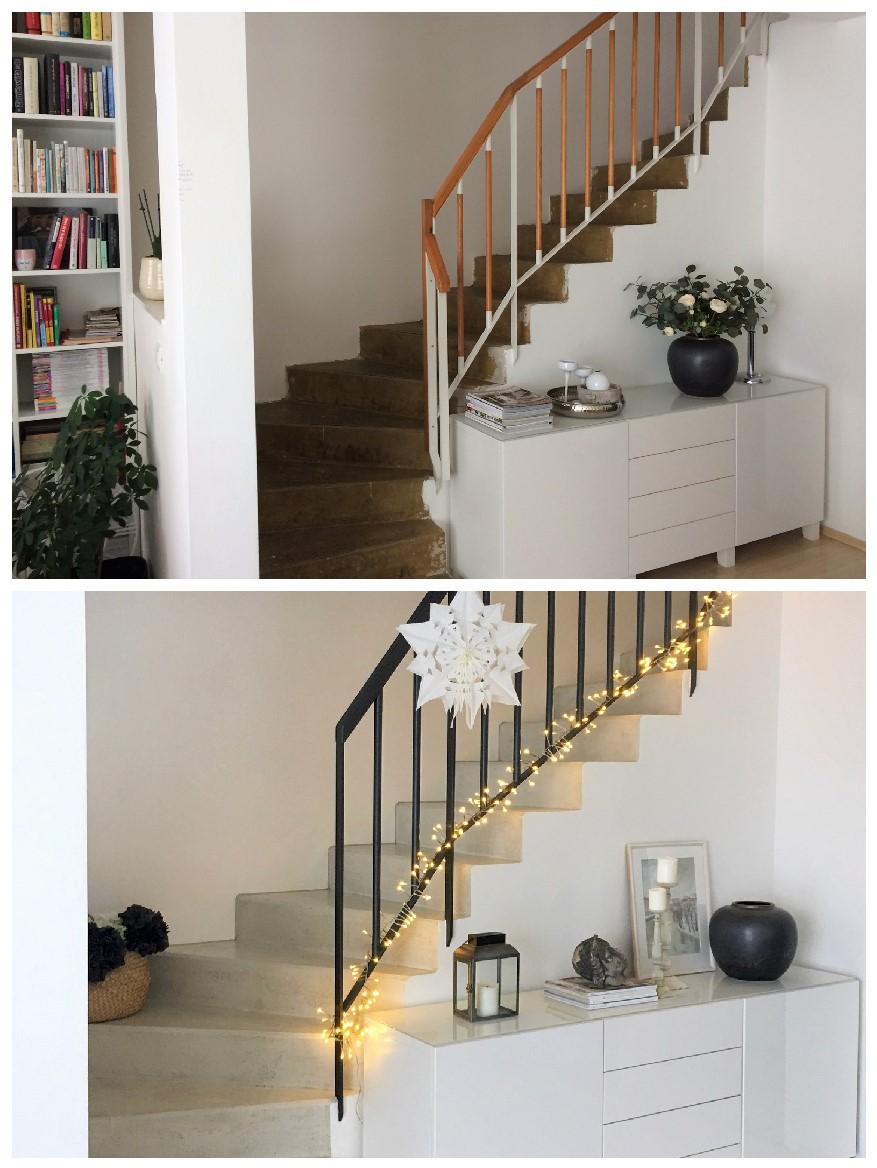 Renovace schodiště - před/po