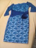 Modré čipkované spoločenské šaty, L