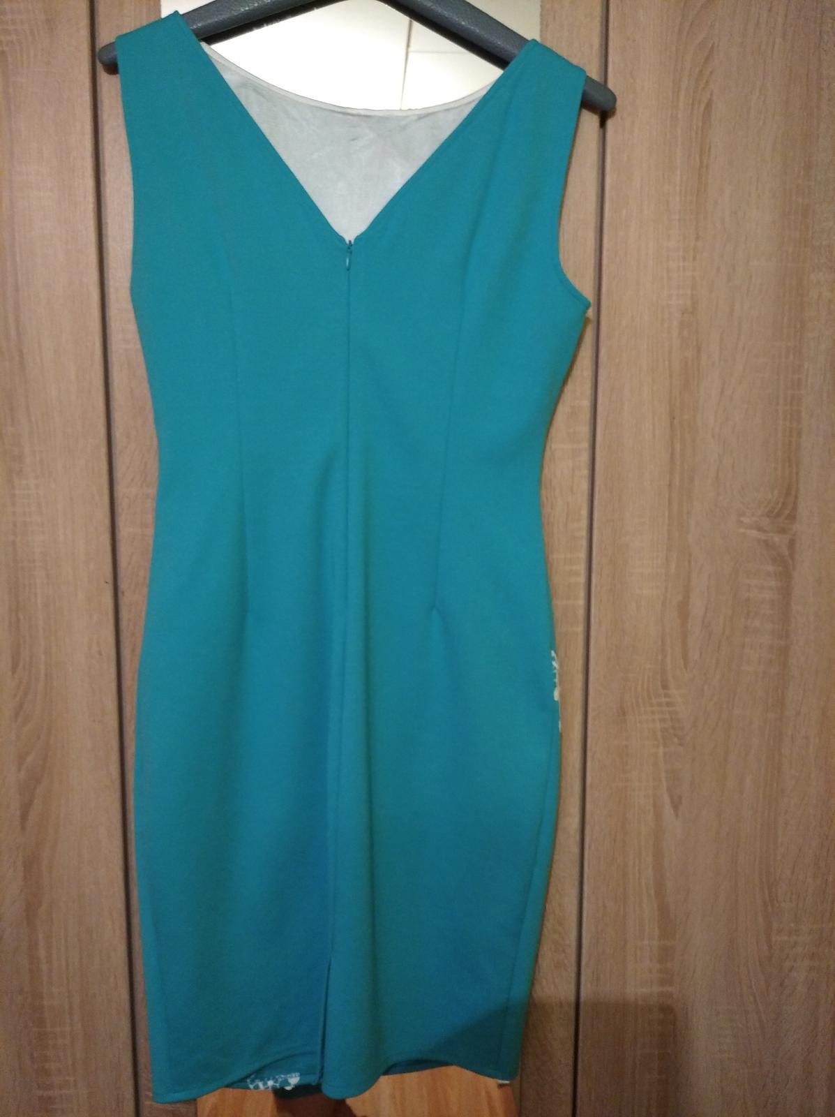 Dámske šaty tyrkysové s bolerkom - Obrázok č. 1