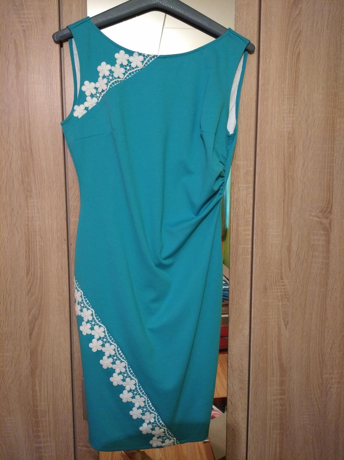 Dámske šaty tyrkysové s bolerkom - Obrázok č. 2