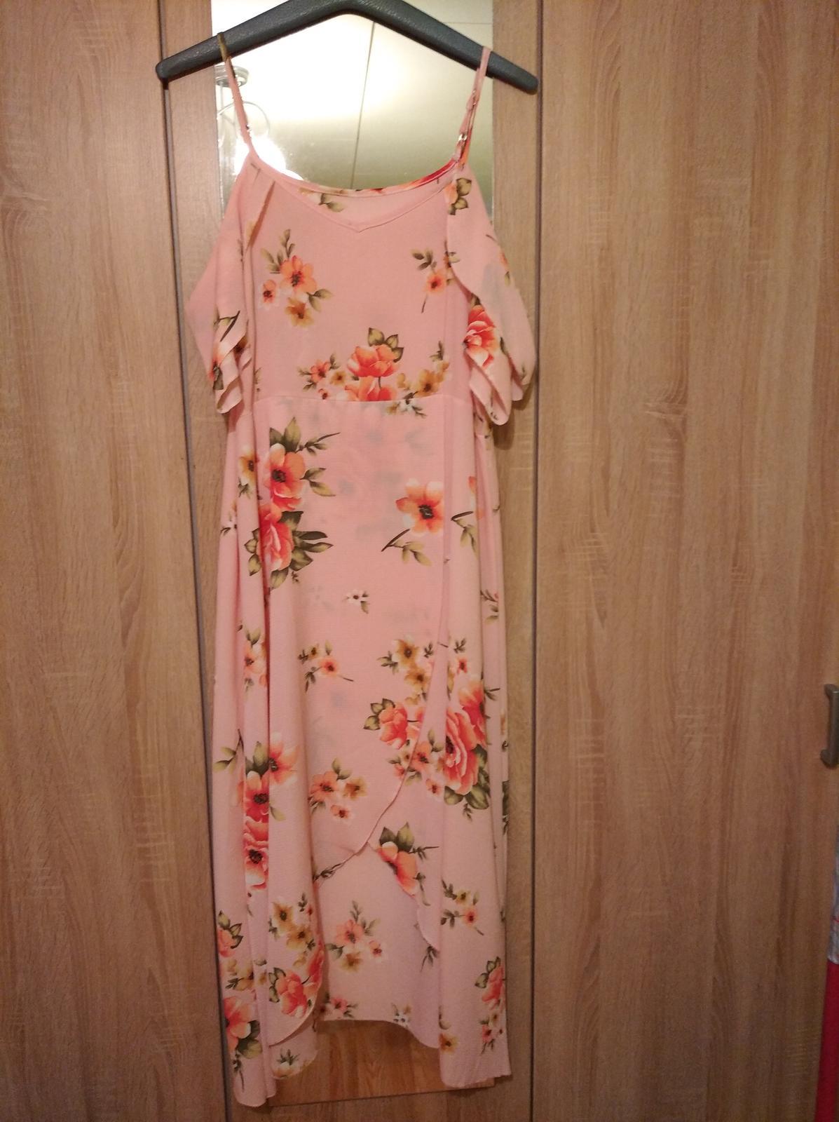 Dámske bledo ružové šaty veľkosť 48 - Obrázok č. 1