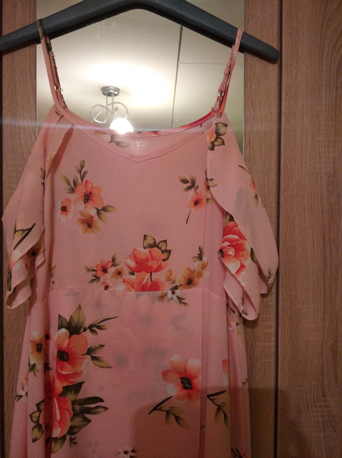 Dámske bledo ružové šaty veľkosť 48 - Obrázok č. 3