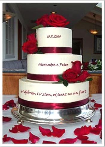 Od teraz až na furt.. - Naša personalizovaná hlavná torta :-) (piškótovo-citrónovo-čokoládová), bez ruží..
