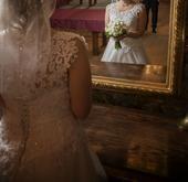 Čipkované snehovobiele svadobné šaty 38-42, 38