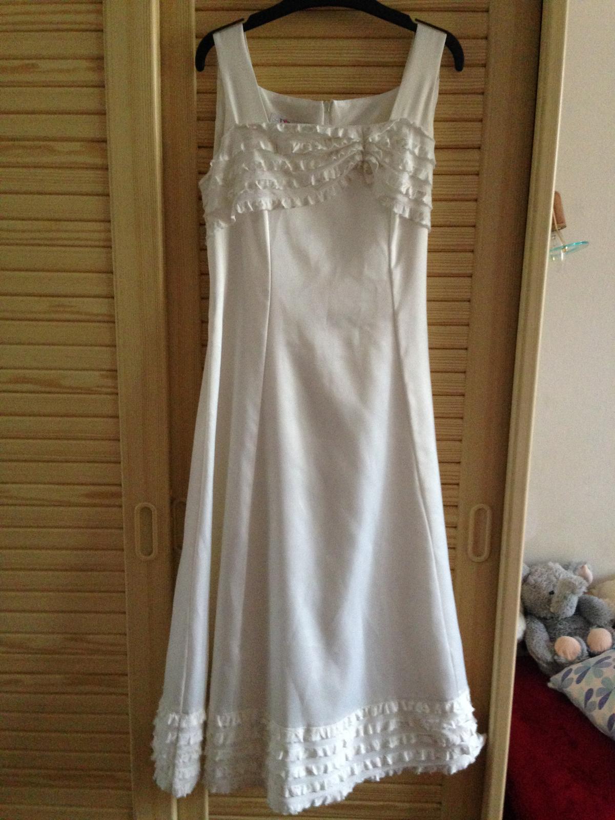 Bílé krémové dívčí šaty vel.152 - Obrázek č. 1