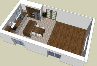 Celá místnost i s obývákem má 52 m2