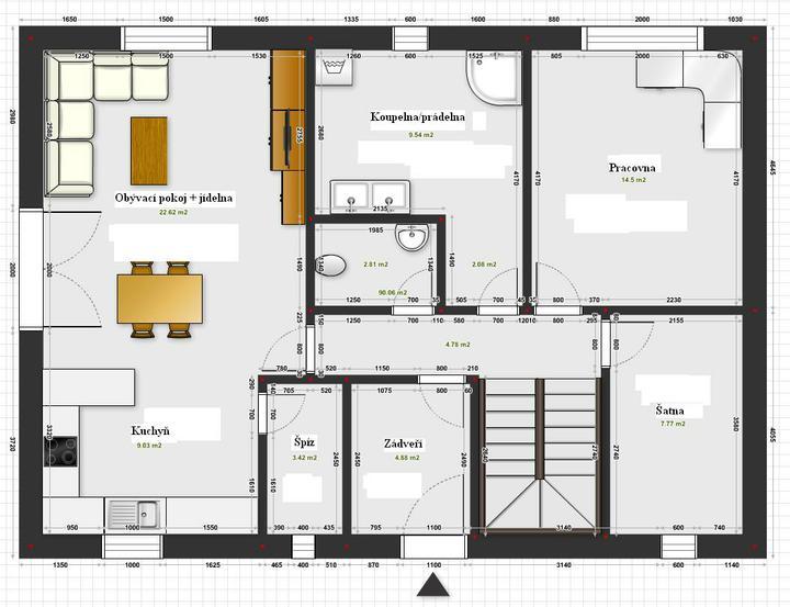 Projekt - vaše názory? - Projekt 1 - přízemí, dům 8,7 x 12,2 m